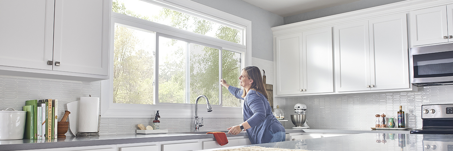 Opening vinyl horizontal slider window