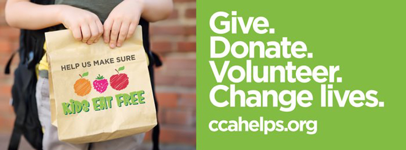 Photo of CCA slogan: Give. Donate. Volunteer. Change lives.