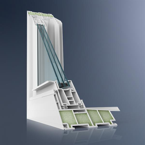 Corner cut of MI's best double-hung window with triple-pane glass and foam enhancement