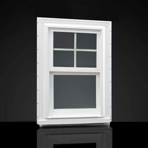 Exterior view of 1556 double-hung window with brickmould accessory