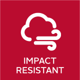 Impact resistant icon designates which MI windows and doors are impact resistant
