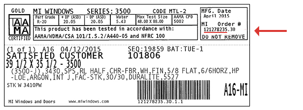 Example of MI order identification label